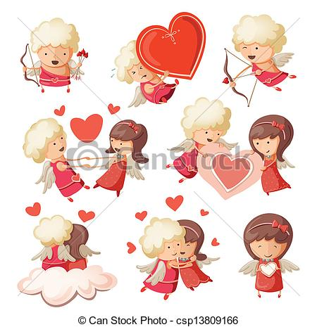 Clip Art Vector of Set of cute boy and girl cupids. csp13809166.