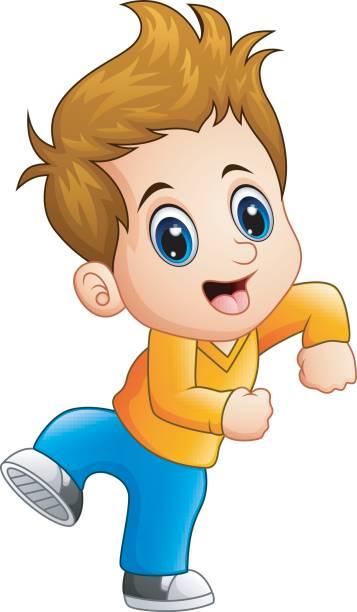 Cartoon Of The Cute Boy Brown Hair Eyes Illustrations, Royalty.