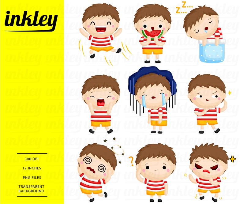 Emotion Clipart, Cute Boy Clipart, Expression Clipart, Emoticon Clipart,  Happy Clipart, Sad Clipart, Boy Expression Clipart, Boy Emotion.