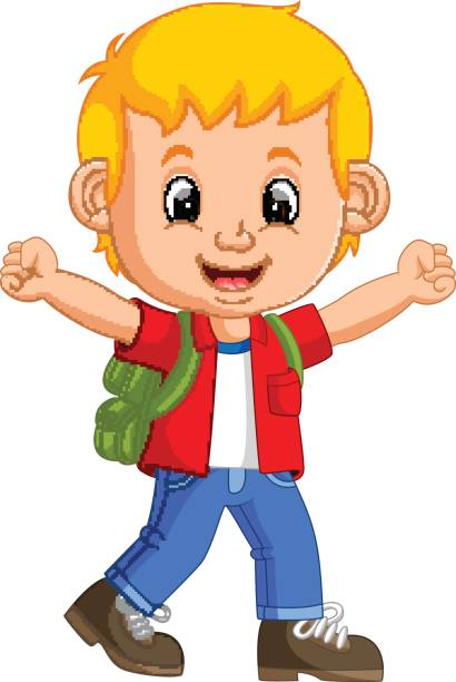 Illustration of Cute boy go to school » Clipart Station.