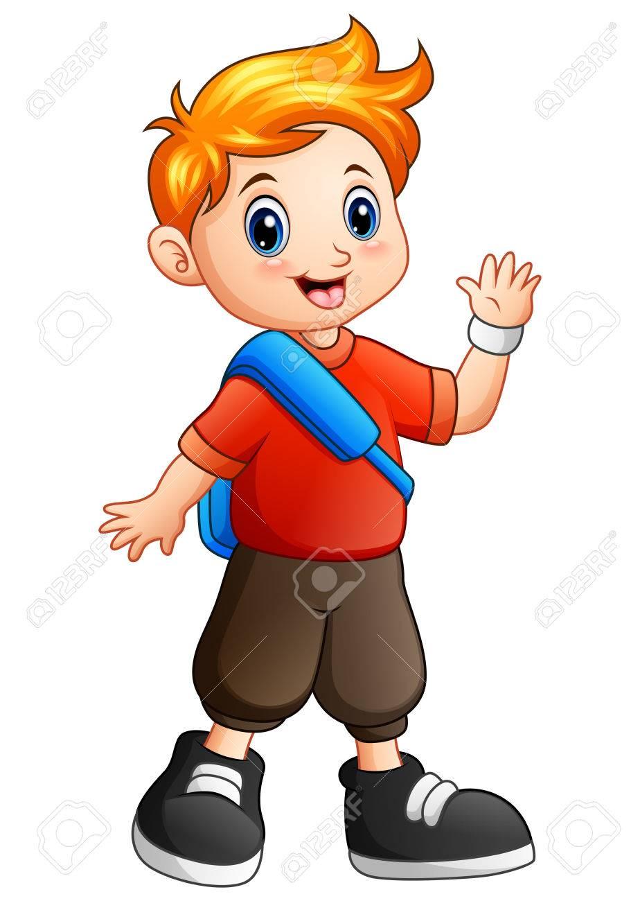 Vector illustration of Cute boy cartoon waving hand.