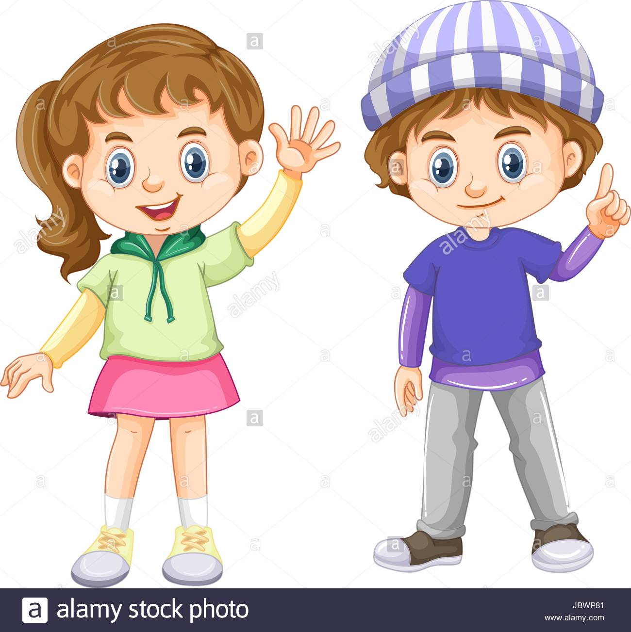 Cute boy and girl with happy face illustration Stock Vector Art.