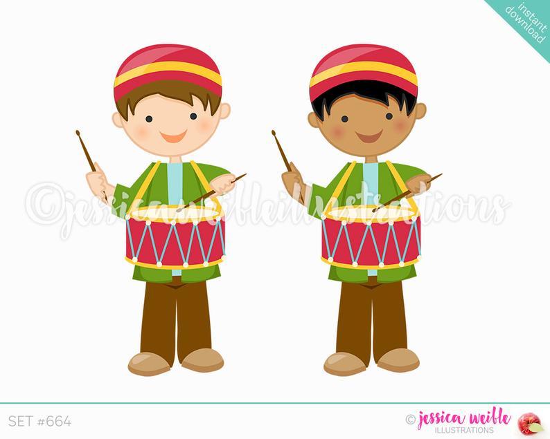 Christmas Drummer Boy Cute Digital Clipart, Cute Boy Drummer Clip art,  Christmas Graphics, Christmas Clipart, Drummer Boy Illustration, #664.