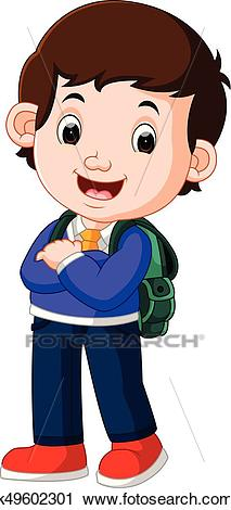Cute boy on his way to school Clipart.