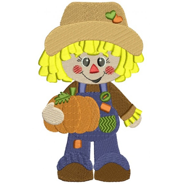 Cute Scarecrow Boy with a pumpkin Filled Machine Embroidery.