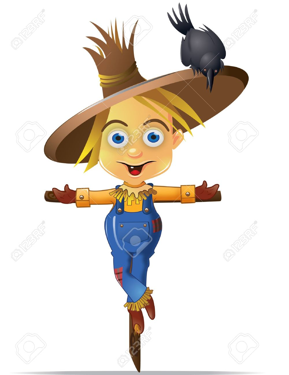 A Cute Scarecrow With A Black Crow Character Graphic Stock Photo.
