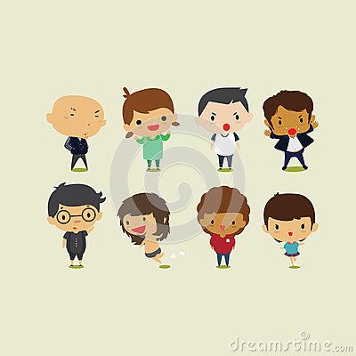 Cute Cartoon Boys And Girls Set2. Vector Clip Art Illustration.