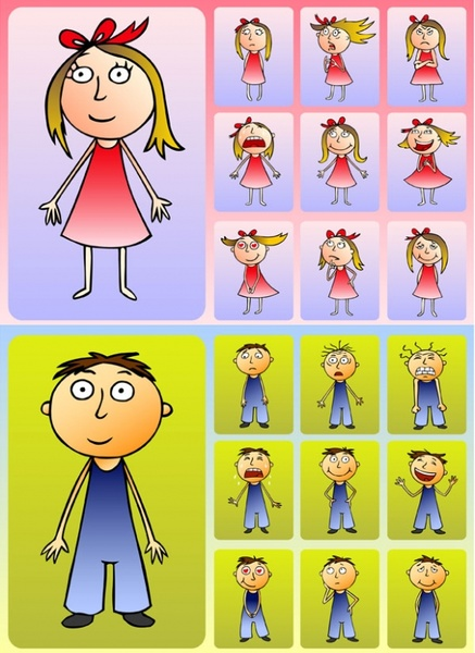 Cute boys and girls clip art Free vector in Encapsulated.