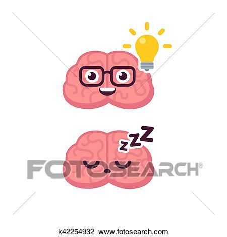 Cute brain idea icon Clipart.