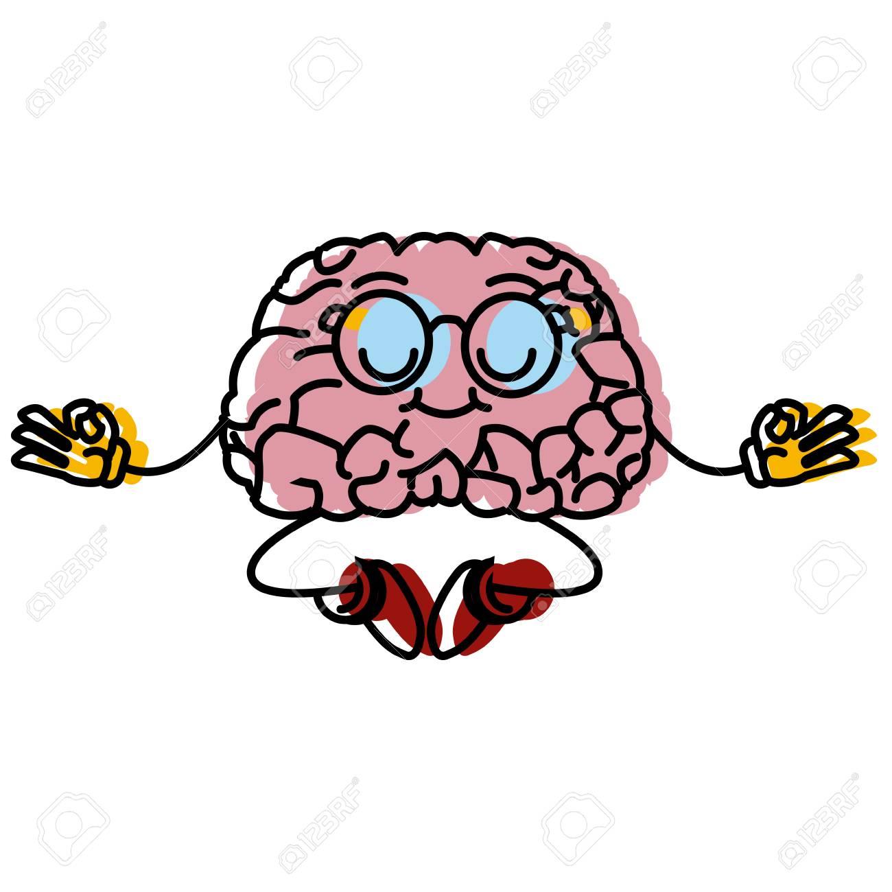 Cute brain meditating cartoon icon vector illustration graphic...