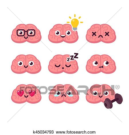 Cartoon brain emoticons set Clipart.