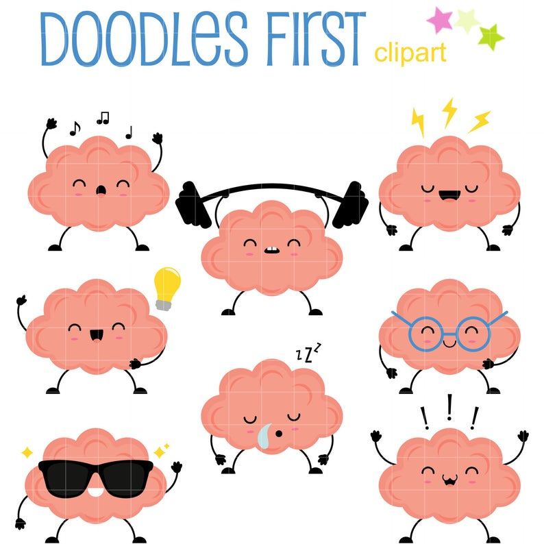 Cute Brain Character Digital Clip Art for Scrapbooking Card Making Cupcake  Toppers Paper Crafts.