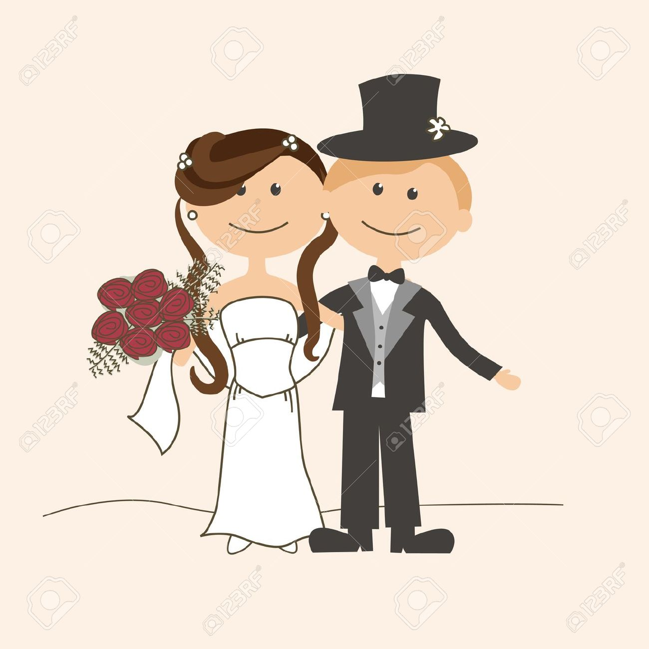 Cute Bride And Groom Clipart.