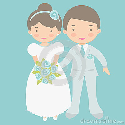 Cute Groom And Bride Clipart.
