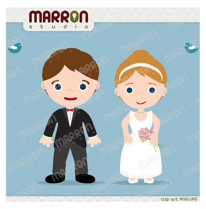 Bride and Groom with birds Clip Art cute couple digital download, good for  save the date.