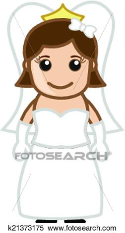 Cute Happy Cartoon Bride Character Clipart.