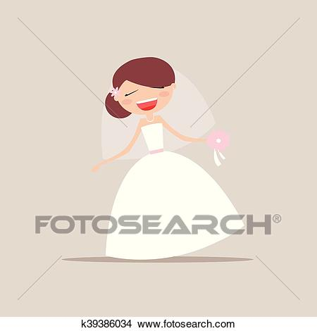 Cute Bride Expression Faces Clipart.