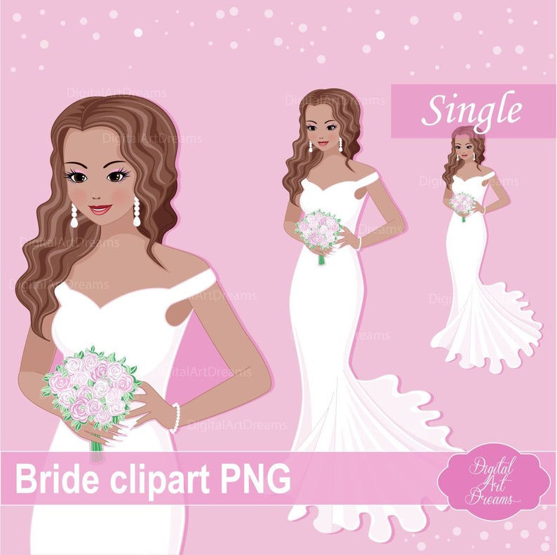 Bride Clipart, Cute Character, Fashion Woman png, Brides Graphics,  Scrapbooking Printables, Card Making, Web Design, Wedding Image, Style.