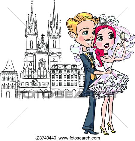 Cute bride and groom make selfie in Prague Clipart.