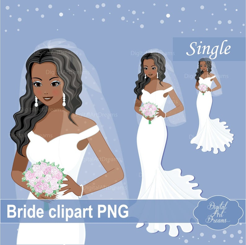 African Bride Clipart, Cute Character, Bridal Graphics png, Black Wedding,  She Said Yes Printables, Bachelorette Images, DIY Invitations Art.