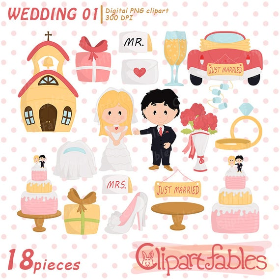 Wedding clipart, Just married clip art, LOVE art, cute Bride and Groom,  engagement clipart.