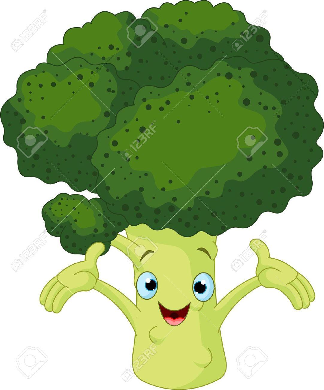 Cartoon Cute Broccoli Presenting Something Royalty Free Cliparts.