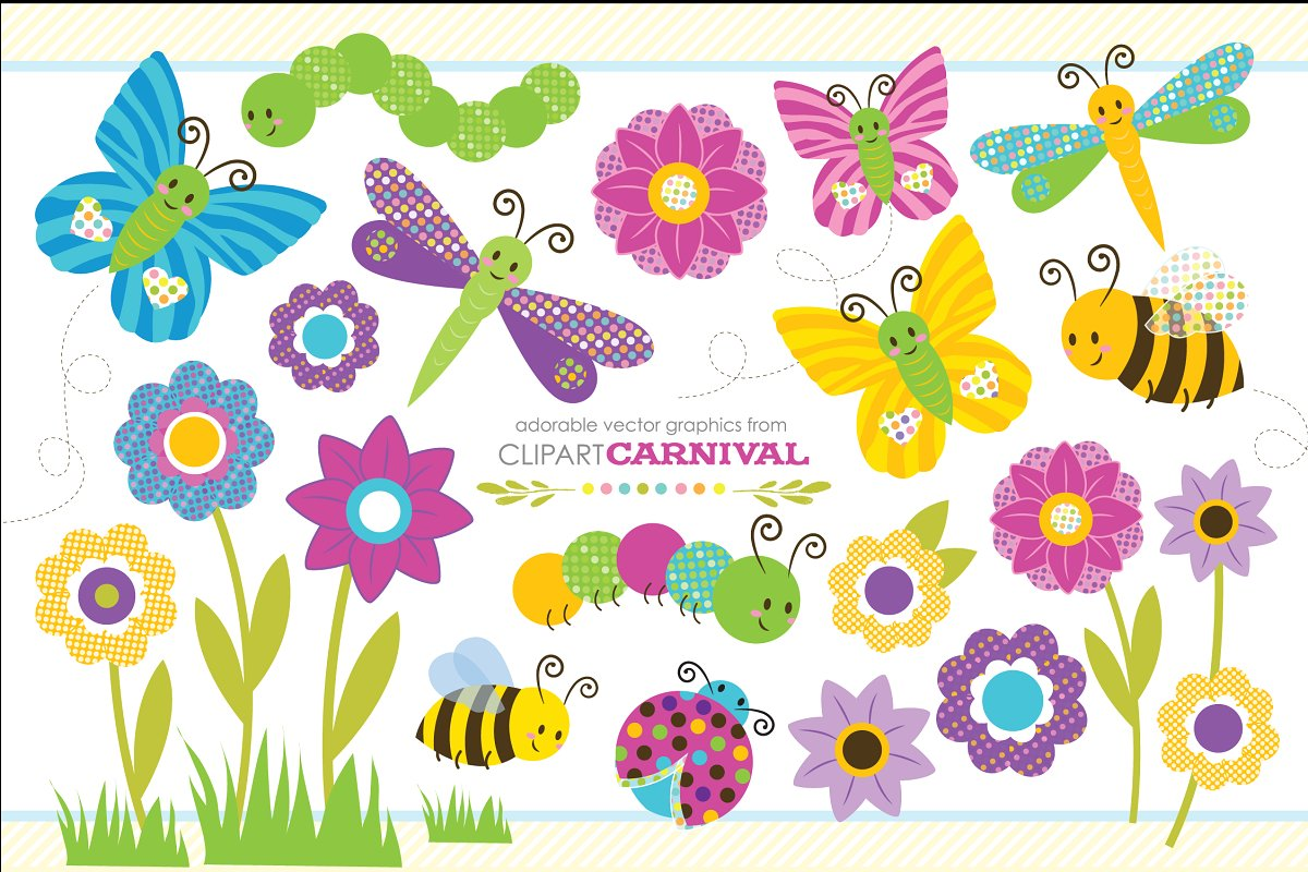 Cute Baby Bug Clipart Graphic Set.
