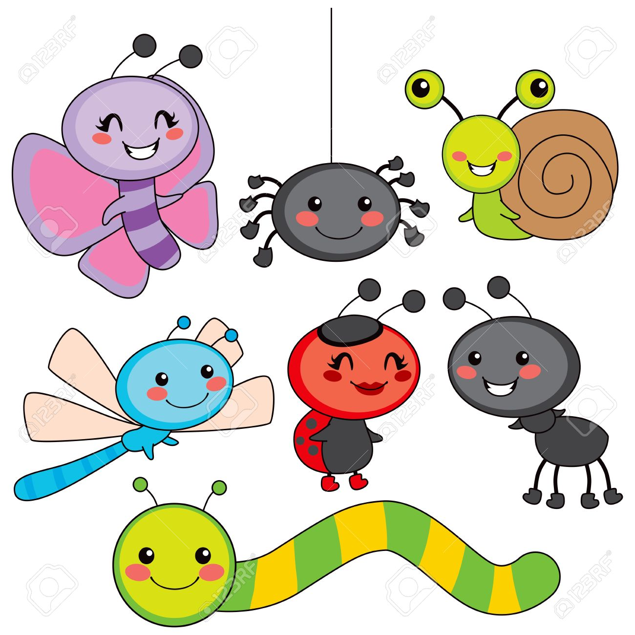 Collection of cute funny colorful happy little bugs smiling.