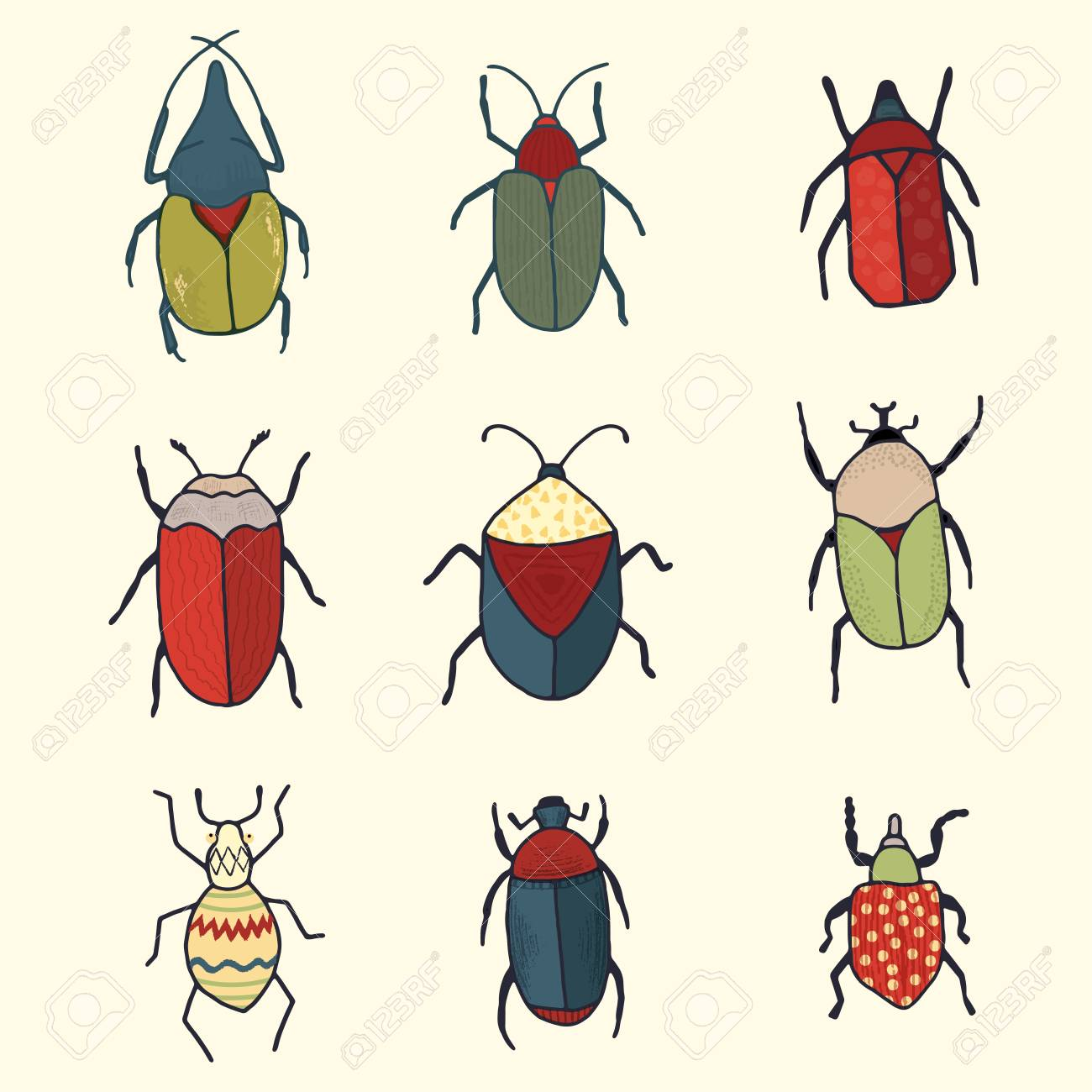 Hand drawn vector clipart set of whimsical cute bugs for scrapbooking...