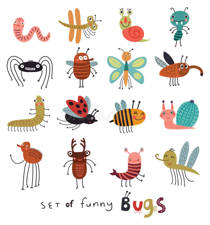 Cute Insects Stock Illustrations.