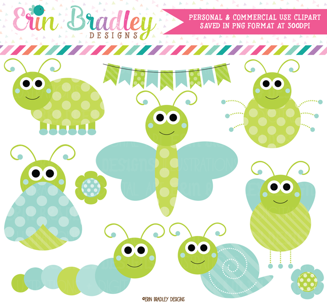 Blue and Green Cute Bugs Clipart.