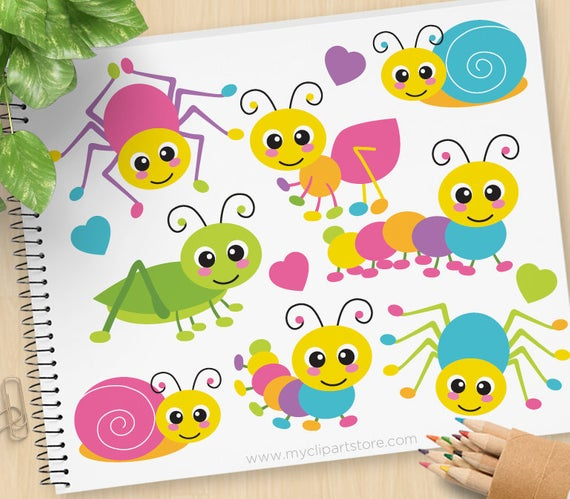 Crawling Bugs Clipart, cute, insects, spider, cricket, grasshopper, ant,  snail, caterpillar, Commercial Use, Vector clip art, SVG Files.