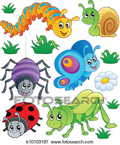 Cute bugs collection 1 Clip Art.