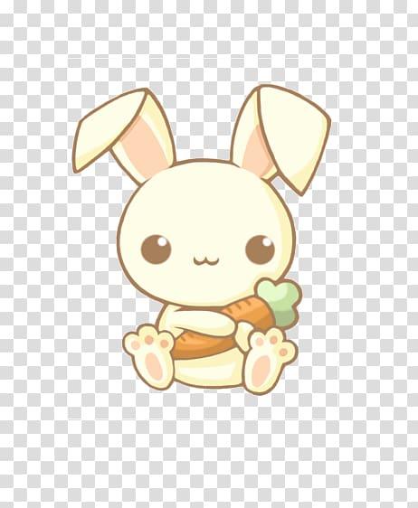 Bunny holding carrot illustration, Easter Bunny Rabbit Kavaii.