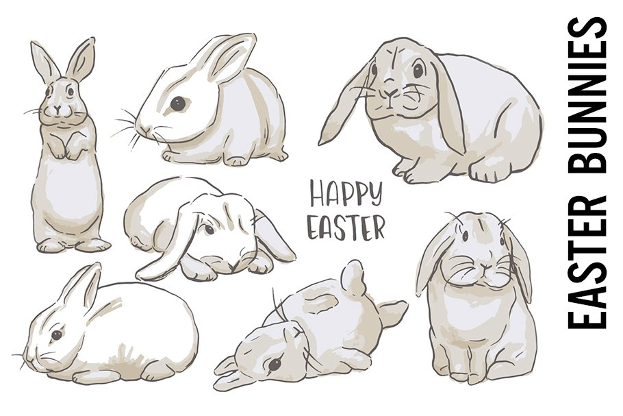 Cute Easter Bunny Doodle Clipart.