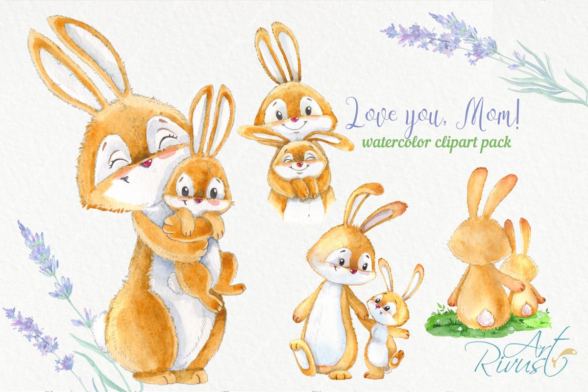 Cute bunny and mom Mothers day watercolor rabbits clipart.