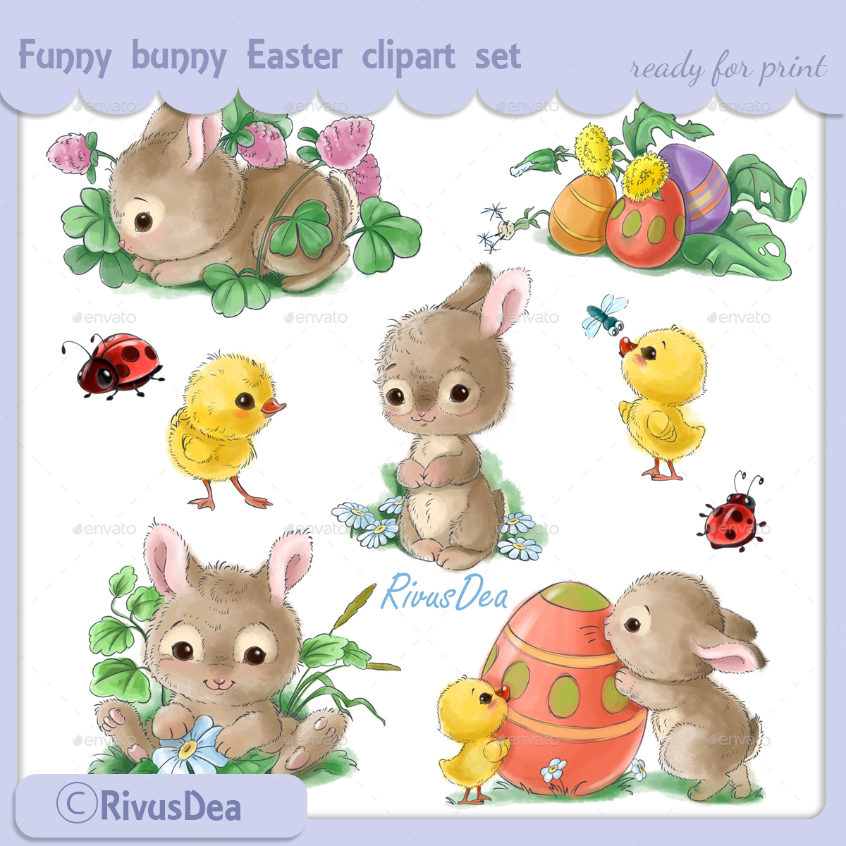 Cute Bunny Easter Sticker Clipart Set in Vintage Watercolor Style.