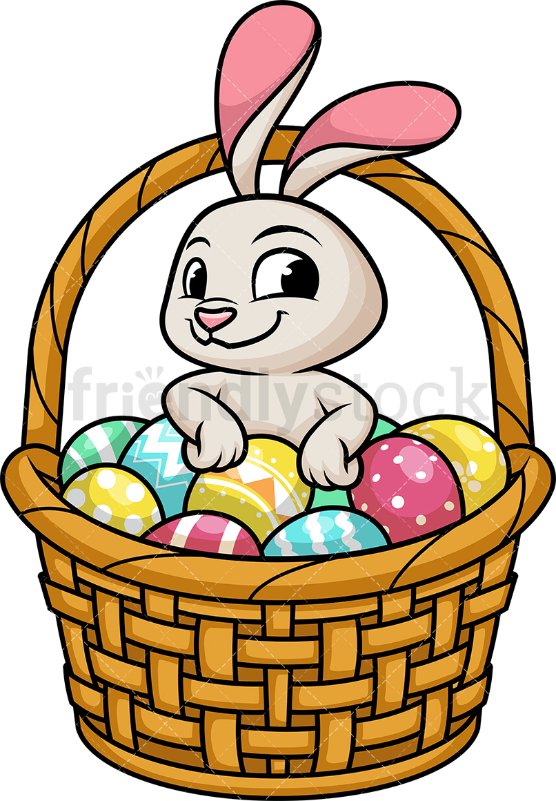 Cute Bunny In Basket With Easter Eggs.