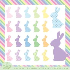 Easter bunny clip art, royalty free rabbit clipart, silhouette.