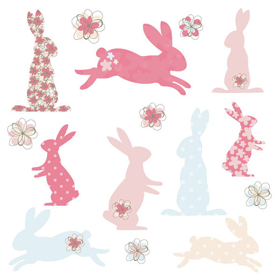 Bunny Rabbit Silhouette Shapes in Cute Pink and Blue Digital Clip.
