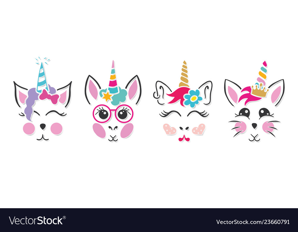 Unicorn cat bunny faces.