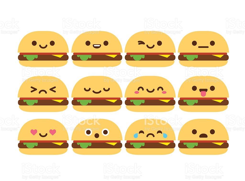 Cute Burger Emoticons stock vector art 472997434.