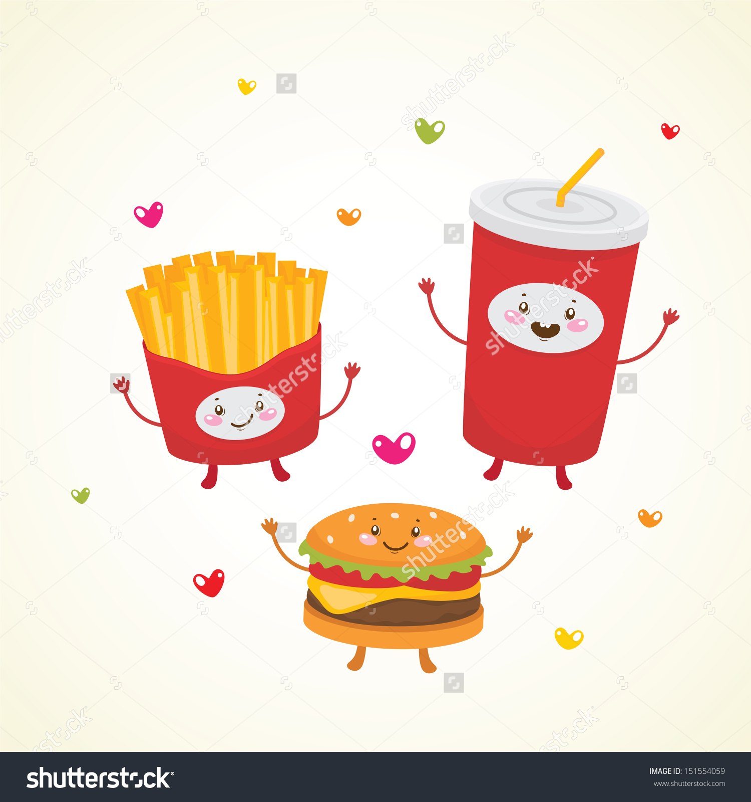 Cute Fast Food Burger Soda French Stock Vector 151554059.