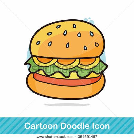 Cute Hamburger Cartoon Stock Illustration 80059708.