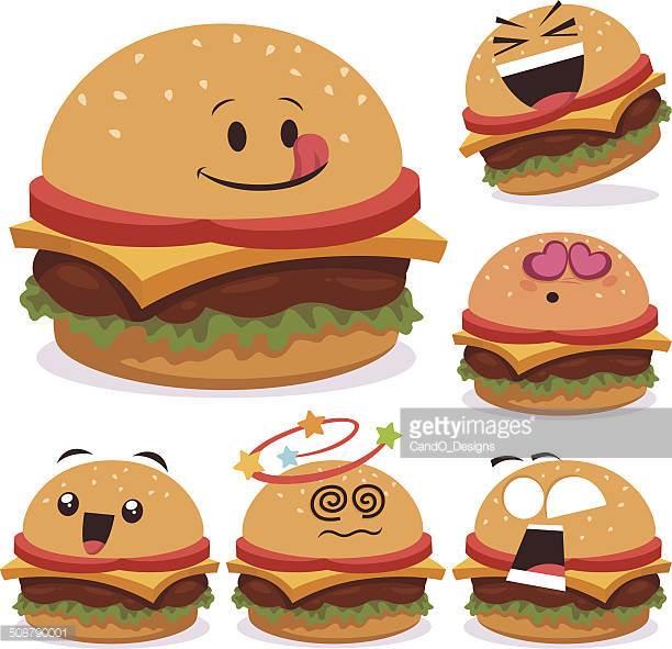 Burger Cartoon Thumbs Up Vector Art.