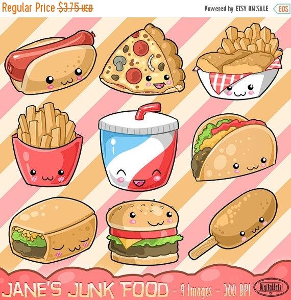 50% OFF Kawaii Junk Food Clipart.