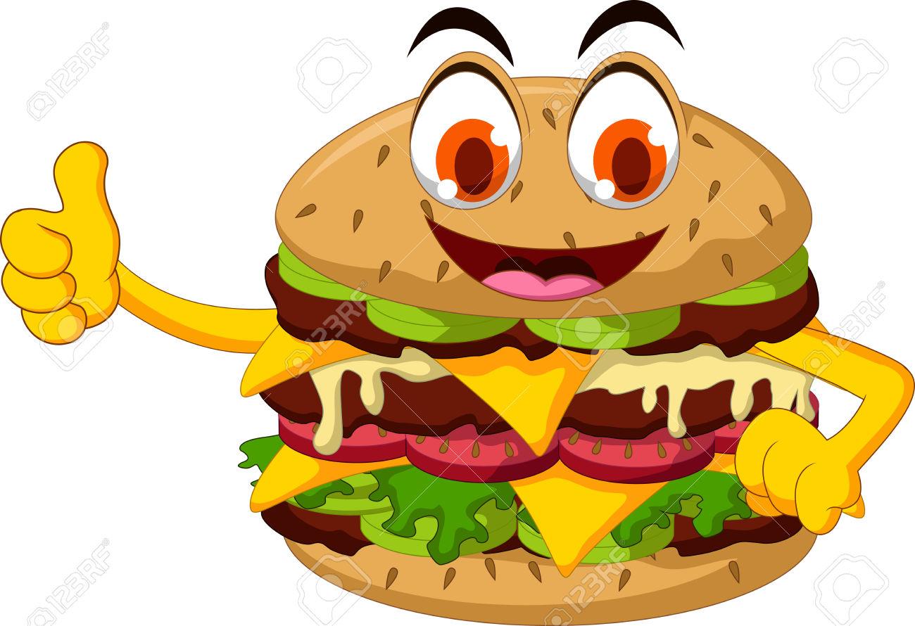 Cute Cartoon Burger Thumb Up Royalty Free Cliparts, Vectors, And.