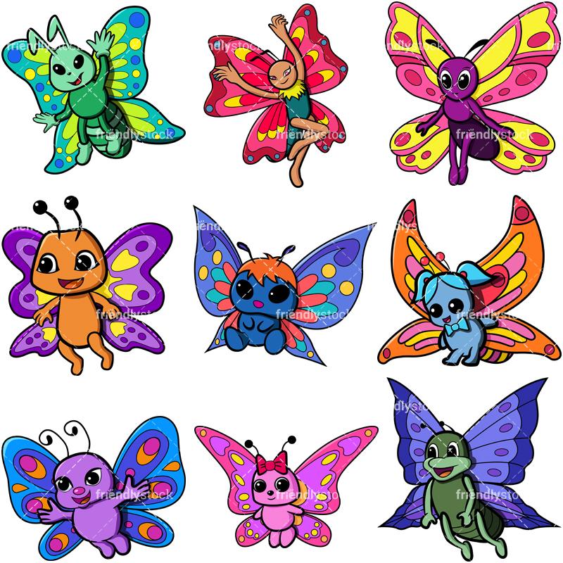 Cute Butterflies Cartoon Vector Clipart.