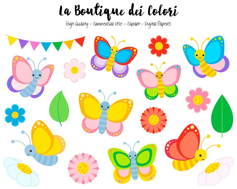 Colorful Butterfly Clipart, Cute Graphics PNG, Spring Bugs, garden flowers,  Insect Clip art, Scrapbook Illustrations for Commercial Use.