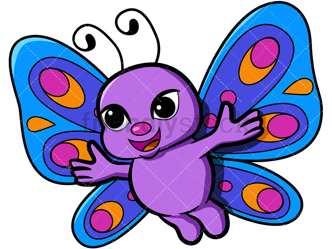 Cute Butterfly With Open Arms.